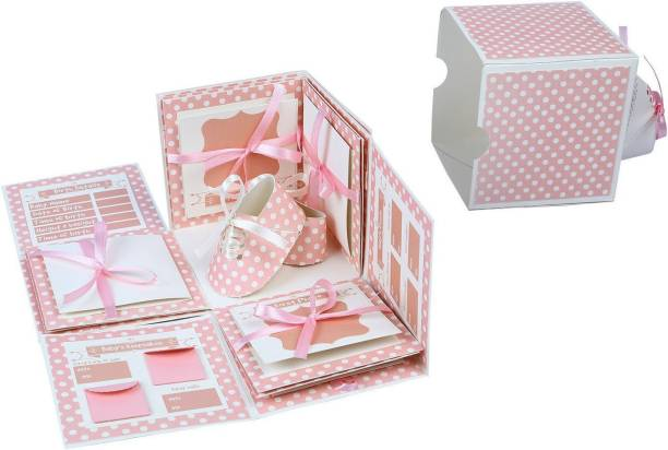 Crack of Dawn Crafts 3 Layered Baby Explosive Box - Pink Greeting Card