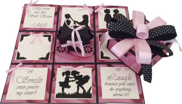 Crack of Dawn Crafts Sister Rakhi Handmade Explosive Gift Box Greeting Card