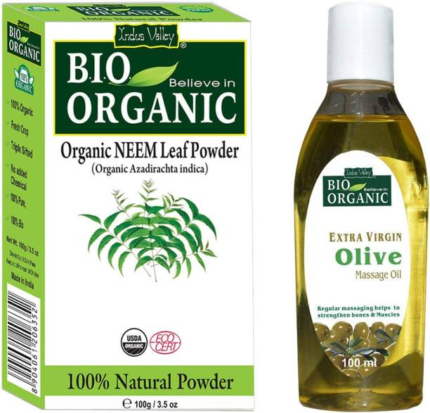 Indus Valley Bio Organic Neem Powder and Extra Virgin Olive Oil For perfect Glowing Skin-Set of 2