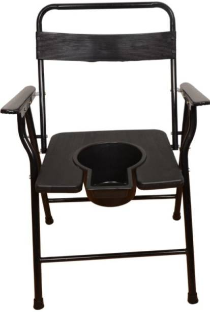 DARLIE Black pot With Folding Anti-Skid Elderly Disabled Men and Pregnant Women Stainless Steel Shower and Bathing Room Mobile Commode Chair with Toilet Seat Comfortable Safe chair( BLACK ) Commode Chair