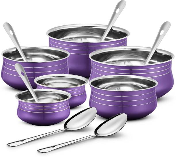 Ideale Stainless Steel 6 Pcs Handi Set with 6 Pcs Service Spoon Induction Bottom Cookware Set