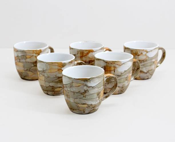 FnP Pack of 6 Ceramic Gloss Finish Tea And Coffee Cups
