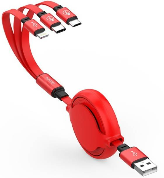 Soopii S28 Portable Flat 3 In 1 USB Cable, Round Dual Retractable Adjustable Length Cable USB 1.2 m Lightning Cable