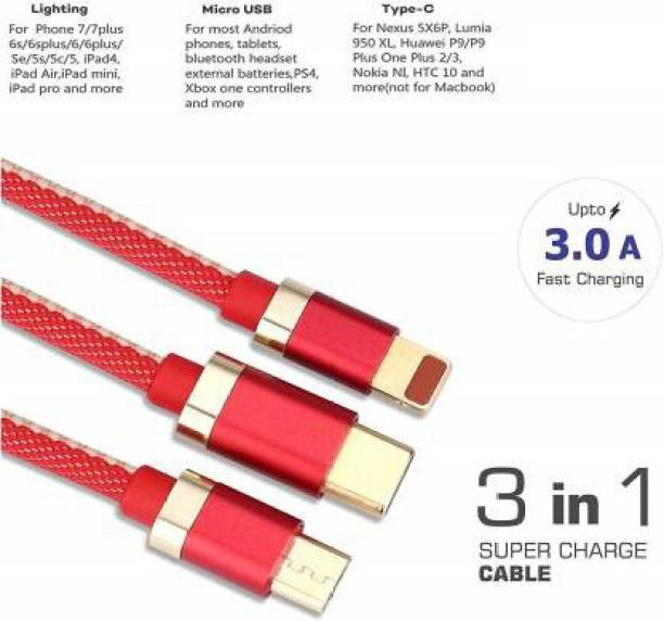 AXXTITUDE 3-in-1 Fast Charging Nylon Braided durable data cable (Compatible with All Smartphones & Mobile accessories) charging for Micro USB, ios , Android & Type C Devices 1 m USB Type C Cable