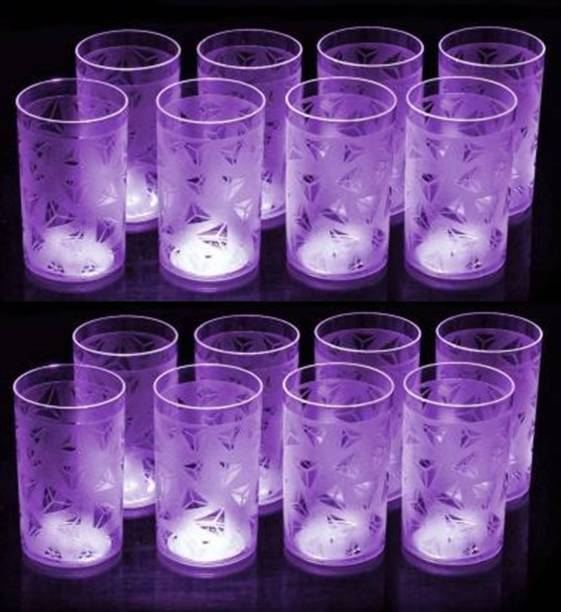 TENIDO (Pack of 16) Purple Plastic Prism Glass Diamond Design For Water and Juice Glass Plastic Glass Plastic Glass Set Plastic Glass Set Glass Set (290 ml, Plastic) Glass Set