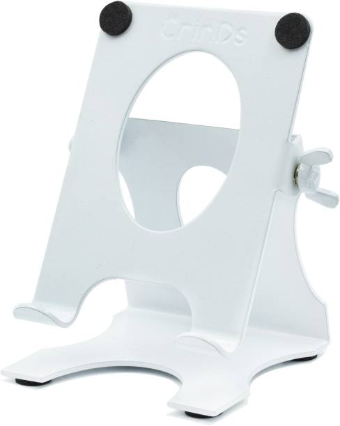 Crinds Pure Metal Adjustable Mobile Phone Tablet iPhone iPad Stand Holder for Table Desk with Multi-Angle Big Back Support and Charging Compatibility Mobile Holder