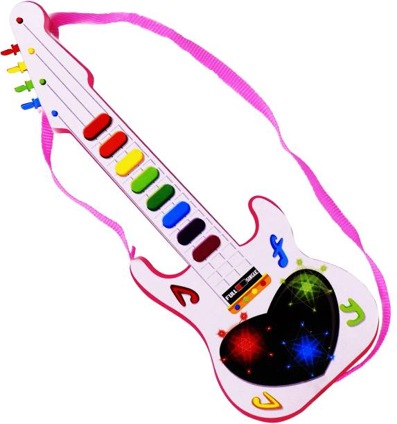 Aseenaa Musical Mini Guitar Toy With Musical Rhymes Sound And 3D LED Light   Battery Operated   Musical Instrument   Electric Keyboard   Lighting Toys   Best Gift For Kid And Toddlers   Size : 12 Inches   Colour : White And Pink   Package Content : Guitar