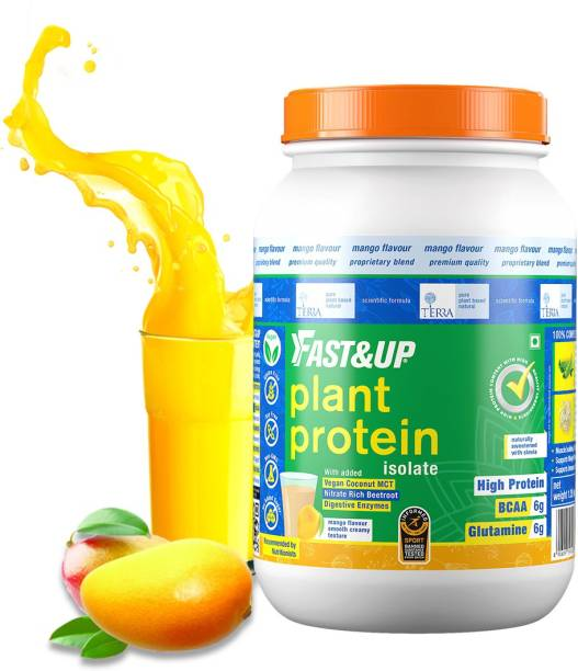 Fast&Up 100% Organic Plant Protein-Vegan,Gluten/Lactose/Soy Free,With Beetrot &Coconut MCT Plant-Based Protein