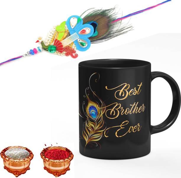 THE SD STORE Designer Mug, Rakhi, Chawal Roli Pack  Set