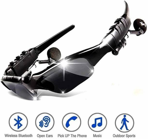Kundra uper Quality Stereo Wireless Electronics Bluetooth Outdoor Activities Bluetooth Wireless Smart Sunglasses With Hands-Free Calling Function Wireless Sports Sunglasses Bluetooth Earphone Deep Bass Lightweight Bluetooth Headset Sunglasses Headphone Wireless Bluetooth Headphones With Good Touch Function (Smart Glasses, Black)