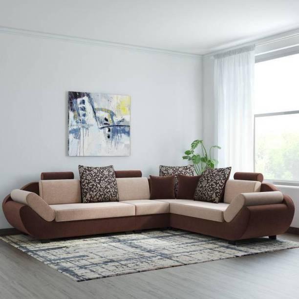 Bharat Lifestyle 888 L Shape Fabric 6 Seater  Sofa