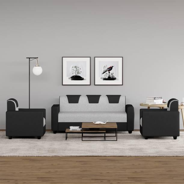 WESTIDO Fabric 3 + 1 + 1 Grey Sofa Set