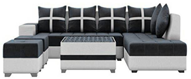 Torque Jamestown L Shape 8 Seater Fabric Sofa Set for Living Room with Center Table and 2 Puffy (Right Side, Black) Fabric 3 + 2 + 1 + 1 Black Sofa Set