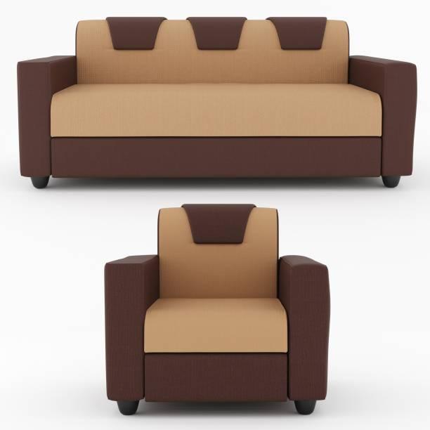 WESTIDO Kay2 Fabric 3 + 1 Cream Brown Sofa Set