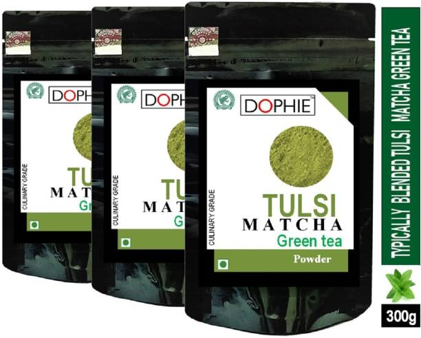 dophie Tulsi Matcha Green Tea Powder 100g[PACK-3]Culinary Grade – Magical taste of Tulsi/Basil , Excellent for Weight Loss - More Antioxidants than Green Tea Bags. Tulsi Matcha Tea Pouch
