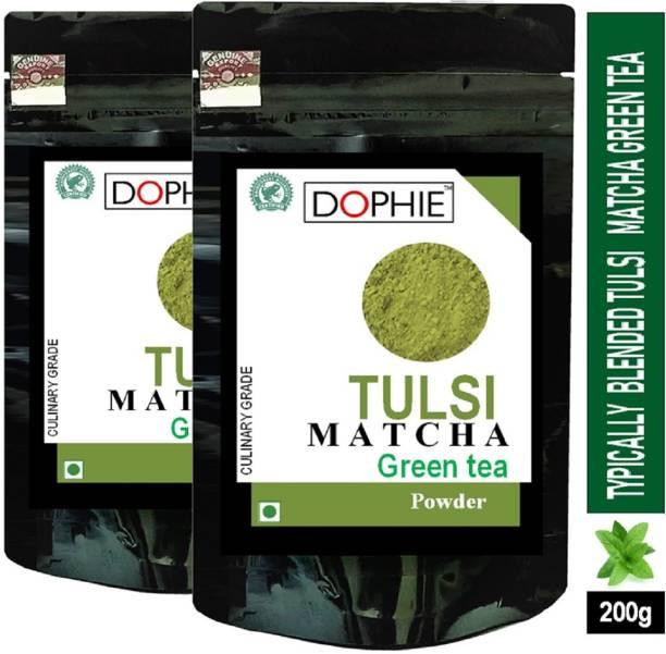 dophie Tulsi Matcha Green Tea Powder 100g[PACK-2]Culinary Grade – Magical taste of Tulsi/Basil , Excellent for Weight Loss - More Antioxidants than Green Tea Bags. Tulsi Matcha Tea Pouch