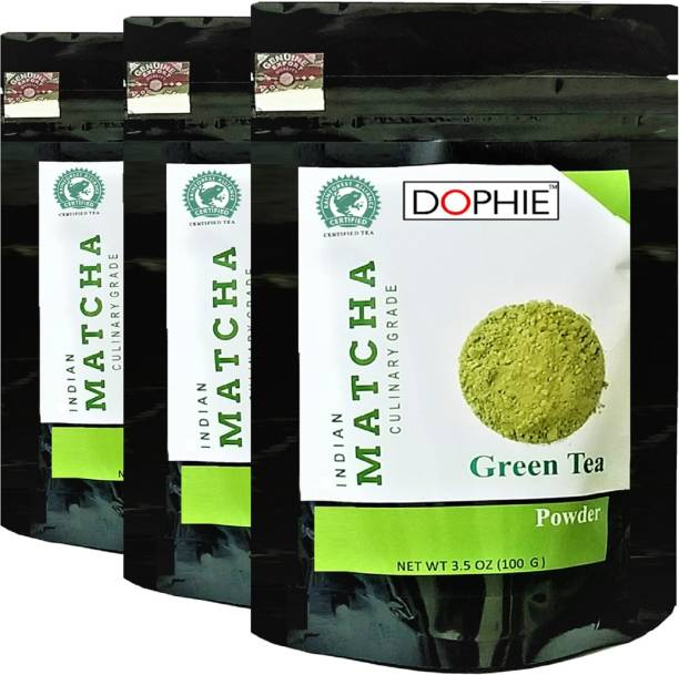 dophie Matcha Green Tea Powder 100g [PACK-3]Culinary Grade – Excellent for Weight Loss - More Antioxidants than Green Tea Bags Unflavoured Matcha Tea Pouch