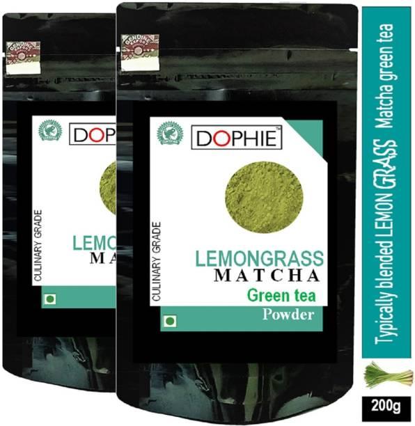 dophie Lemon grass Matcha Green Tea Powder 100g[PACK-2]Culinary Grade – Magical taste of Lemon grass , Excellent for Weight Loss - More Antioxidants than Green Tea Bags Lemon Grass Matcha Tea Pouch