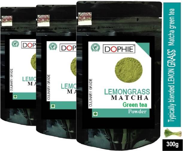 dophie Lemon grass Matcha Green Tea Powder 100g [PACK-3]Culinary Grade – Magical taste of Lemon grass , Excellent for Weight Loss - More Antioxidants than Green Tea Bags Lemon Grass Matcha Tea Pouch