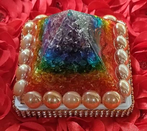VASTU-SAMADHAN VSP-115 - Vastu Samadhan Natural SEVEN CHAKRA ORGAN / ORGONE Pyramid Crystal Stone Pyramid for Reiki and Healing / Positive Vibrations ( 3.5 Inch ) Crystal Yantra