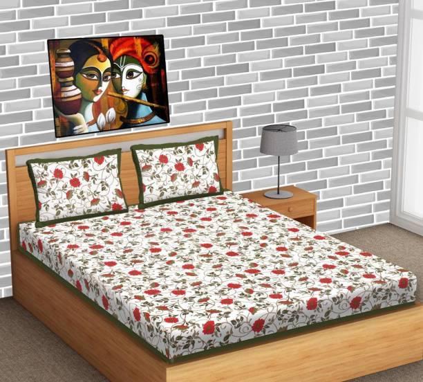 Lomoniya 144 TC Cotton Double Jaipuri Prints Bedsheet