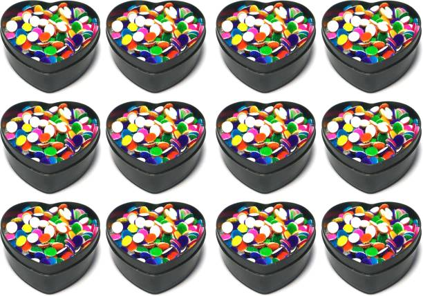 ds Pack of 12 Multi Color Bindi size 3.5mm (Heart shape box) Forehead Multicolor Bindis for Girls & Women Forehead Bindis Forehead Multicolor Bindis (Indian) Girls & woman Multicolor Bindis