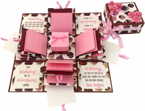 Crack of Dawn Crafts 3 Layered Birthday Explosive Box - Cupcakes Greeting Card