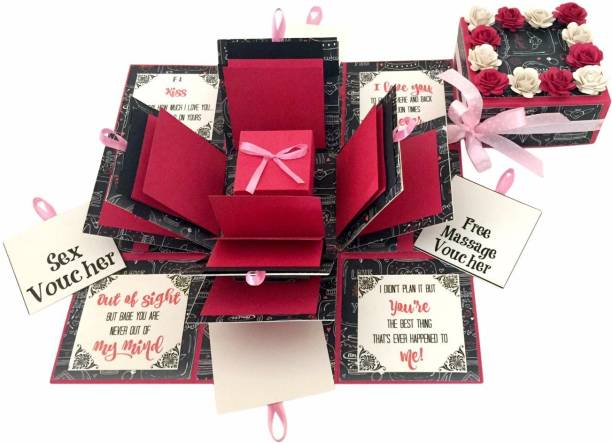 Crack of Dawn Crafts 3 Layered Romantic Explosive Box - Pink Love Greeting Card