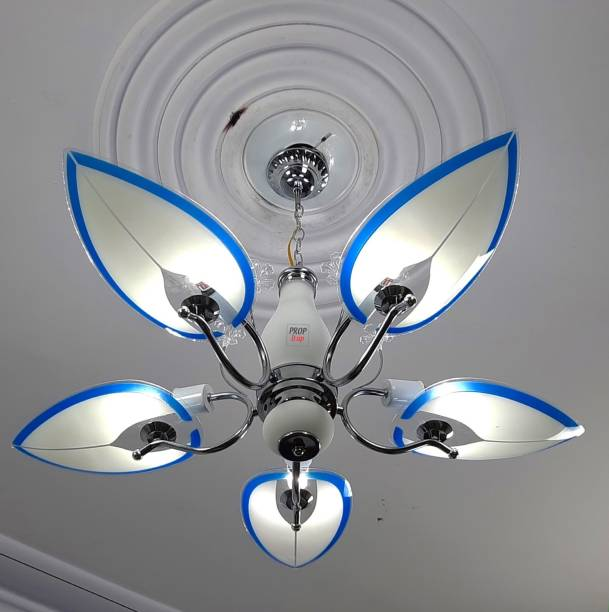 Prop It Up Exclusive Economic Range of 5 Light Chandelier with Leaves Shape Glass Shade & Very fine Steel/crom Finished frem, for Bedroom, Drawing Room, Hall, Dinning, Shop, Office etc.803/5 (Blue) Chandelier Ceiling Lamp