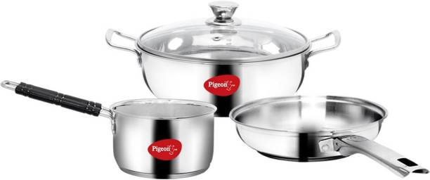 Pigeon Special Stainless Steel Gift Set with Kadai, Fry Pan and Saucepan Induction Bottom Cookware Set
