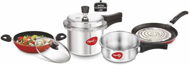 Pigeon by StoveKraft Limited 2 and 3 litre Pressure Cooker Outer Lid, 1 Flat Tawa 250 mm and 1 Kadai 240mm with Glass Lid Cookware Set