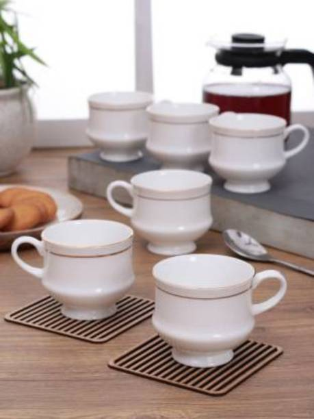 SJS Pack of 6 Bone China Bone China Mona tea & coffee cup set -120ML