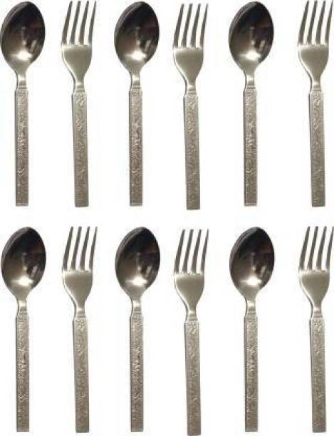 APM Stainless Steel Table/Dinner Fork Spoon Set (6 Pcs Each) Stainless Steel Cutlery Set