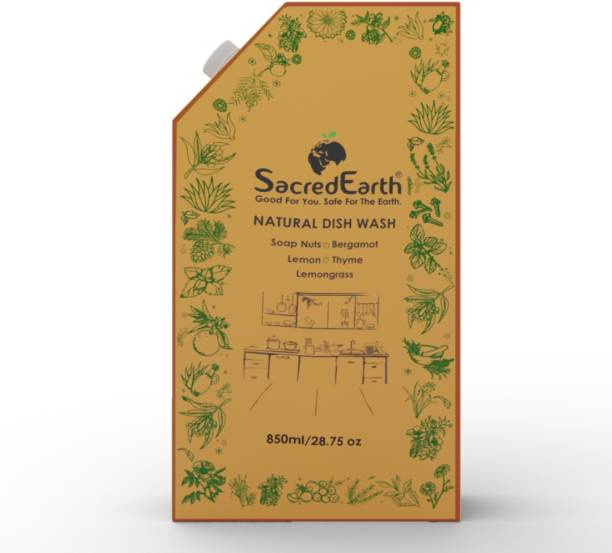 SacredEarth Natural Dish Wash Liquid with Soap Nuts, Lemon, Lemongrass, Thyme and Bergamot (850 ml) Dish Cleaning Gel
