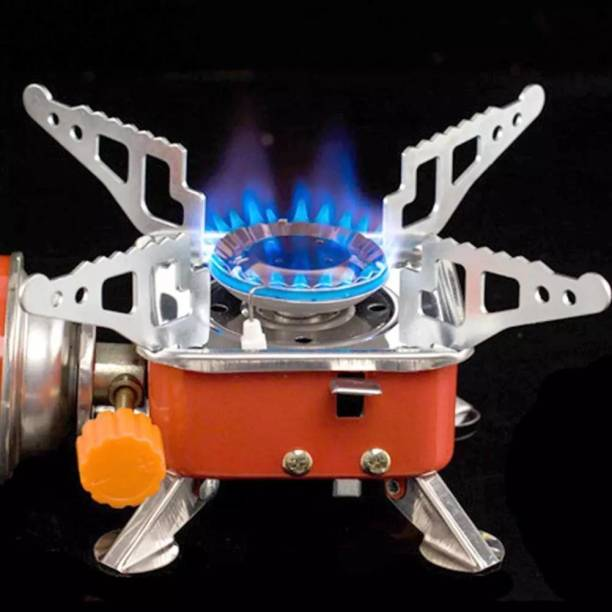 ZURU BUNCH Windproof Foldable Stove Burner-Ultra light Camping Stove Portable Mini Outdoor Folding Metal Camping Gas Stove Windproof Furnace Burner Backpacking Hiking Stainless Steel Manual Gas Stove