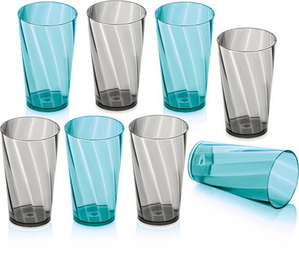 Flipkart SmartBuy (Pack of 8) TWISTER PATTERN Plastic Water Glasses Glass Set