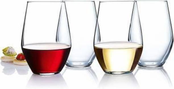 looka (Pack of 2) jg (Pack of 4) Water & Juice Glass, Crystal Glass, 400 ml, Set of 4 Glass Set (400 ml, Glass) Glass Set