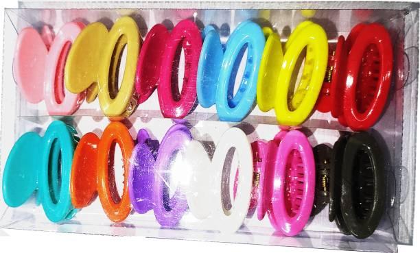BELLA HARARO Plastic Hair Clutchers/Hair Claws for Girls and Women Set of 12 Hair Clips Hair Claw Hair Clip -(Multicolor)-12 Hair Claw
