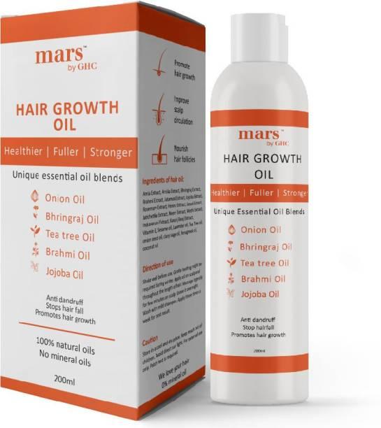 mars by GHC Hair Growth Oil With Onion, Bhringraj, Tea Tree, Brahmi & Jojoba Oil For Healthy Hair Growth, Anti-dandruff & Control Hair Fall, No Minerals & Silicones Hair Oil