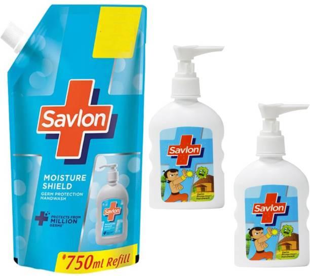 Savlon Moisture Shield Germ Protection Hand Wash 750ml + Pump 2X80ml Hand Wash Pump + Refill
