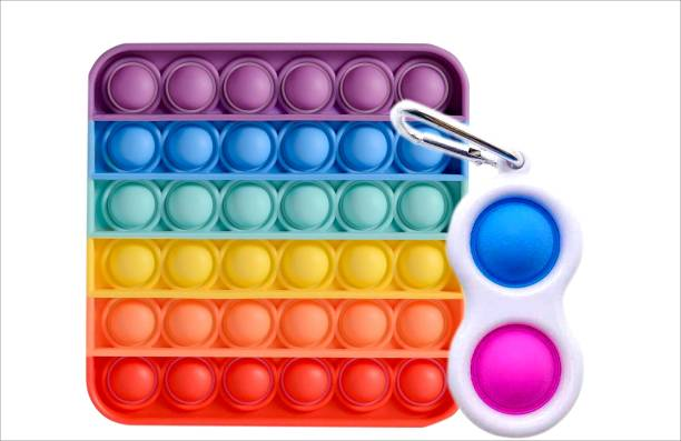 BONIRY Simple Dimple Keychain and Rainbow Square Pop-it Sensory Fidget 2 in 1 Set | Push & Pop Bubble Stress Relief Hand Toys for Kids Adults Anxiety...