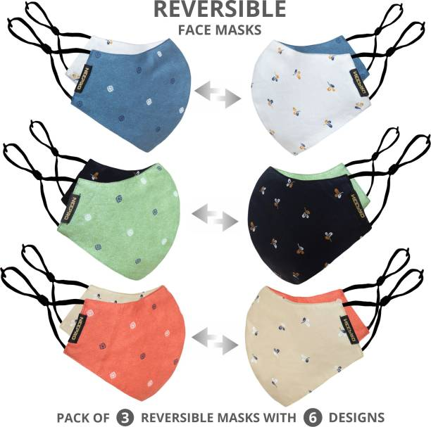 NEEPRO Reversible Reusable Washable Anti bacterial Cotton Face mask for Men and Women With Adjustable Earloop And Nosepin (Free size -Pack of 3) Washable Cloth Mask With Melt Blown Fabric Layer
