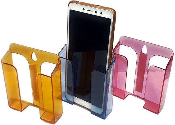 SAFESEED Mobile Phone Wall Stand T12 for Kitchen, Hall, Bed - Pack of 3 - with Strong Self Adhesive and Screw Holder Mobile Holder