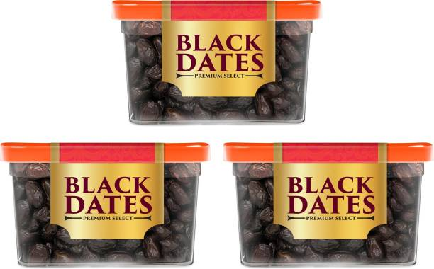 Manna Black Dates - 1.2kg (400g x 3 Packs) | Select Premium Organic Handpicked Dates | Khajoor | Khajur | Soft Dried Healthy Snack | Soft & Juicy texture | Zero Added Sugar & Preservatives | Rich in Iron, Fibre & Vitamins Dry Dates Dry Dates