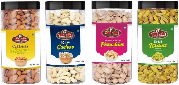 YUM YUM Premium Dry Fruits Combo Pack 1Kg- Almonds, Pistachios, Cashews, Raisins