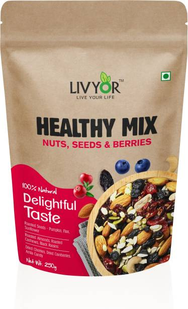 LIVYOR Healthy Mix Nuts, Seeds and Berries Combo   Super Nutritious Food   Dry Fruits Trail Mix with Seeds, Berries