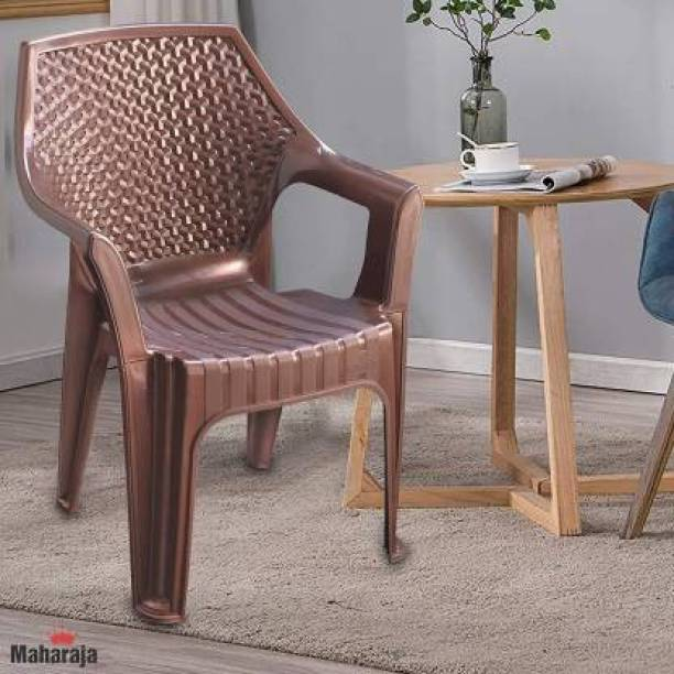 MAHARAJA Delta Plastic Chair Set of 1, Stackable Plastic Chair for Home, Office and Restaurant - Brown Plastic Outdoor Chair