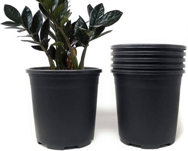 """HndB by HndB 6 Inch Nursery Pots Round Flower Pots Decorative Plastic Pots for Plants with Drainage Hole Seed Starting Pots for Seeding, Nursery Gamla, Black Plastic Plants Nursery Seedlings Pot ( 6"""" Black pots) Plant Container Set"""