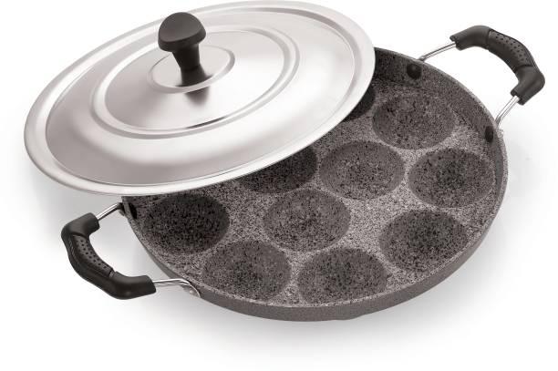 iVBOX ® Marble-Suni 12 Cavity Appam Maker Paddu Paniyarakkal Pan Maker Paniyaram Patra Ponganal Baati Baking Pot with Lid