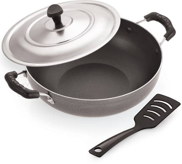 iVBOX ® Ultima-RG 24 CM Non-Stick Kadhai With Outer Hard-Stone Coating With Steel Lid Kadhai 24 cm diameter with Lid 2 L capacity